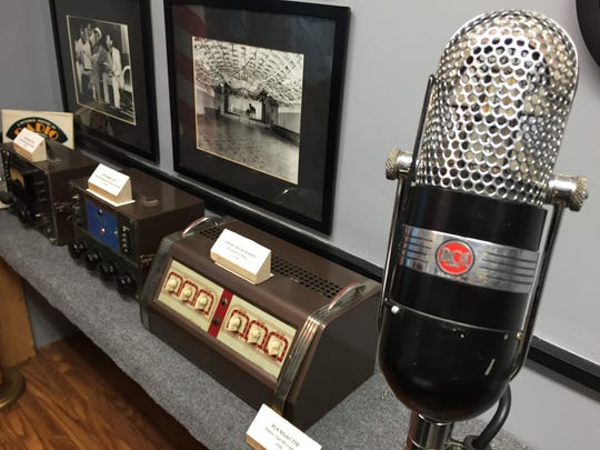 A 1938 RCA Microphone - 77B - stands in the broadcast booth at American Legion Owen Coffman Post 519, Palm Springs. Nov. 18, 2015.