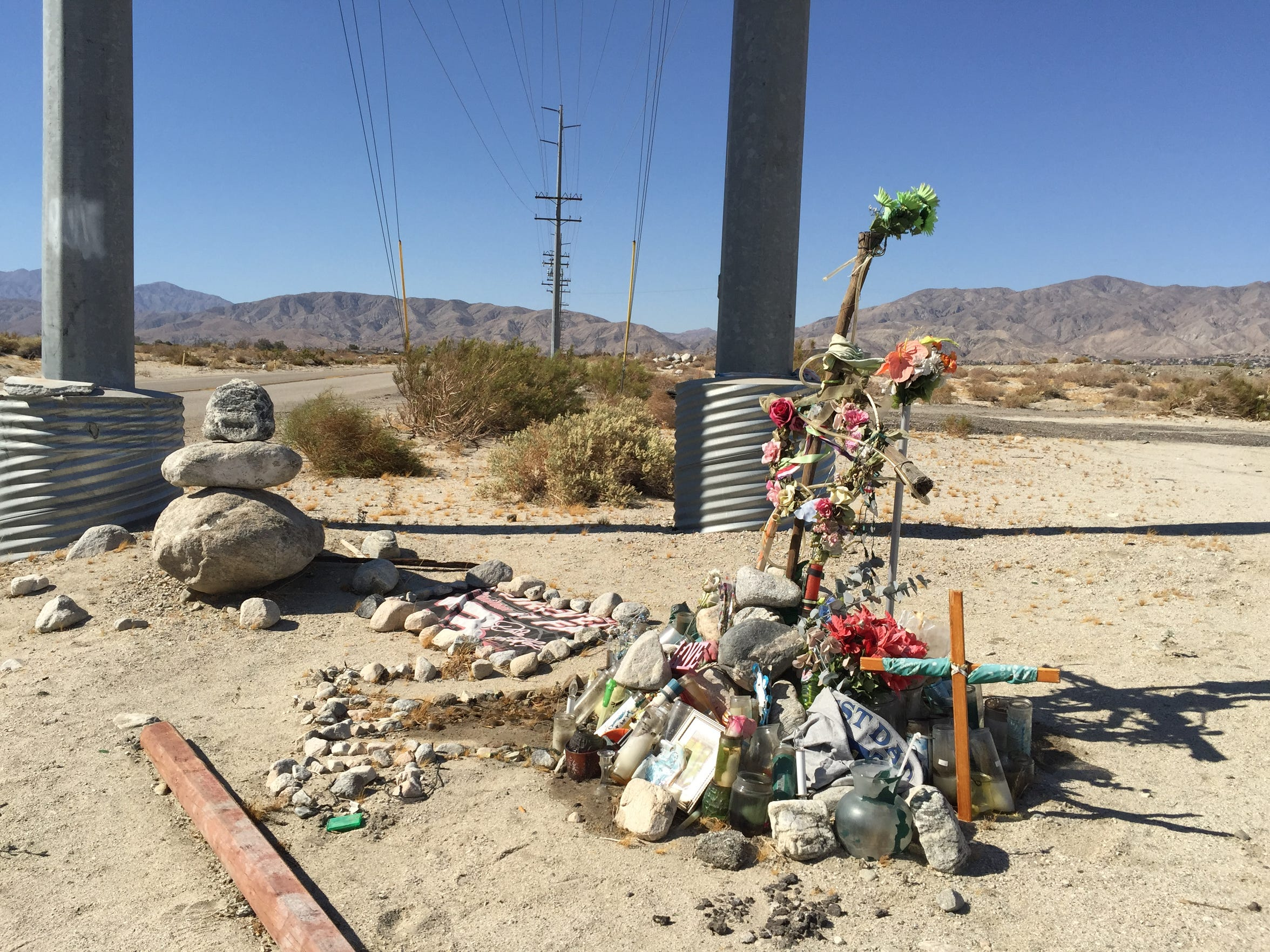 A memorial at the crash site on Little Morongo Road where Tyrone Love Jr. died.