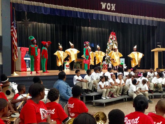 W.O. Hall Elementary students perform a Christmas program Thursday.