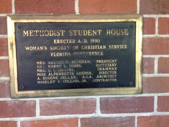 This market is on the outside wall of the Wesley Foundation's fellowship hall.