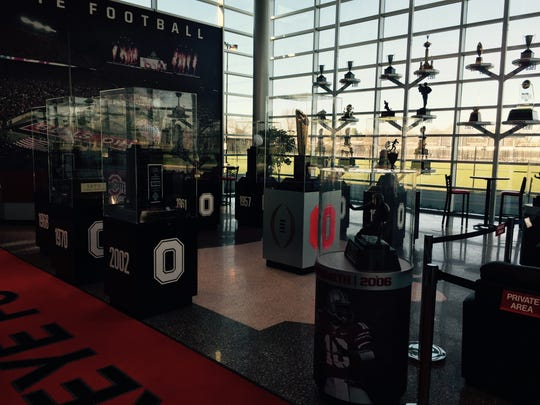 The trophy room at Ohio State's Woody Hayes Athletic Center, the same building where new Rutgers coach Chris Ash has an office for the next few days.