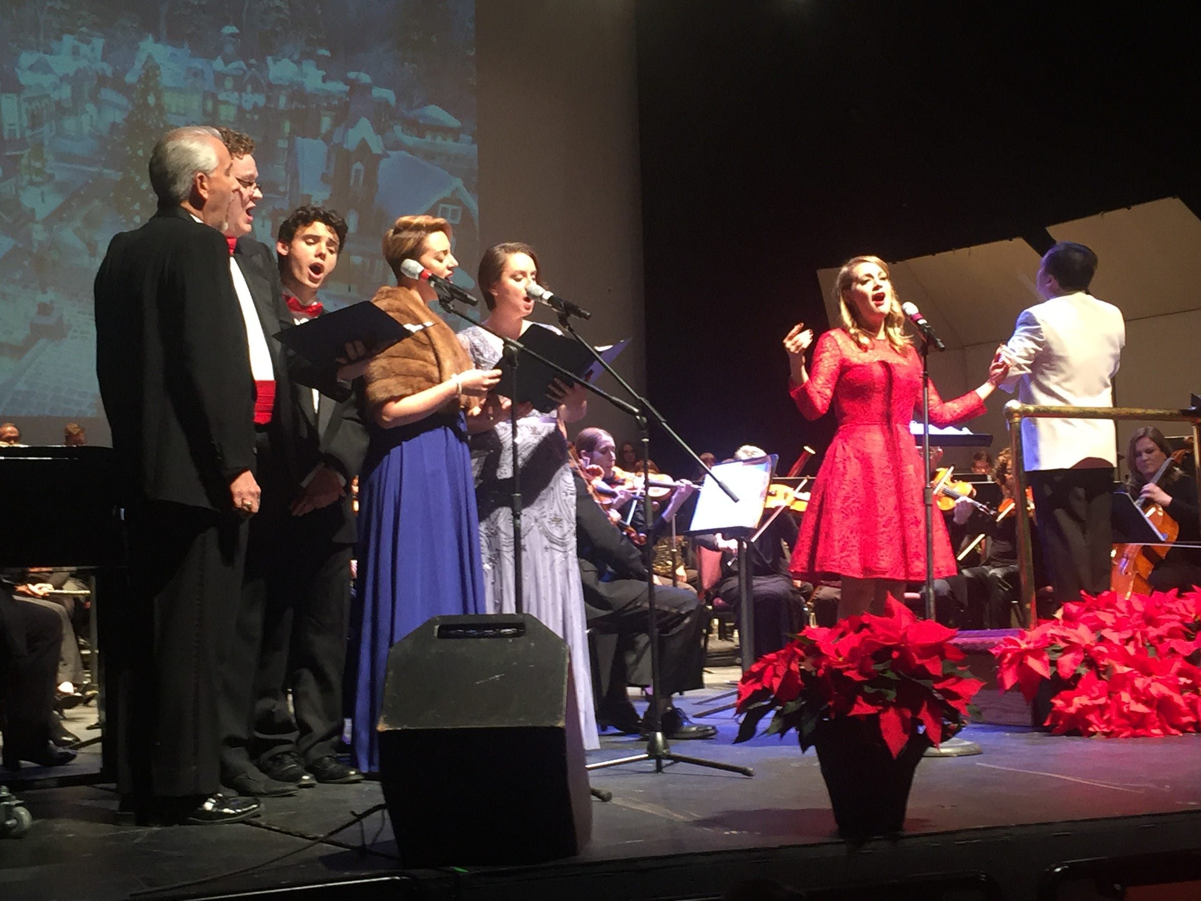 """Mansfield native and Broadway star Jenni Barber sings """"Have Yourself A Merry Little Christmas"""" along with a vocal quintet during the Mansfield Symphony and Chorus Holiday Pops concert Sunday."""