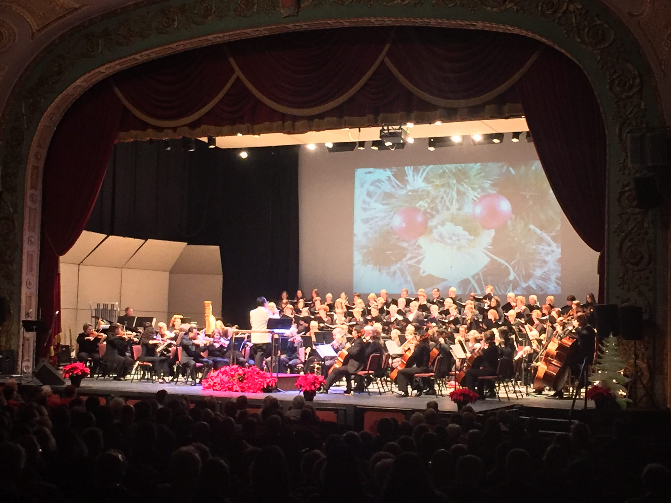Mansfield Symphony and Mansfield Symphony Orchestra Chorus fill the house with holiday cheer during Sunday's Holiday Pops concert.