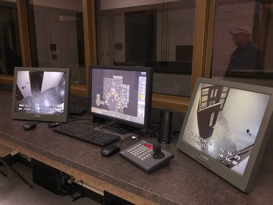 Security cameras can be controlled with a joystick inside central control where all locks within the jail can also be controlled.