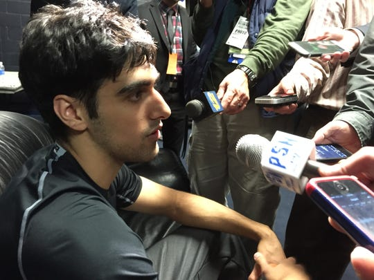Veer Singh meets the media after scoring a career-high 12 points.