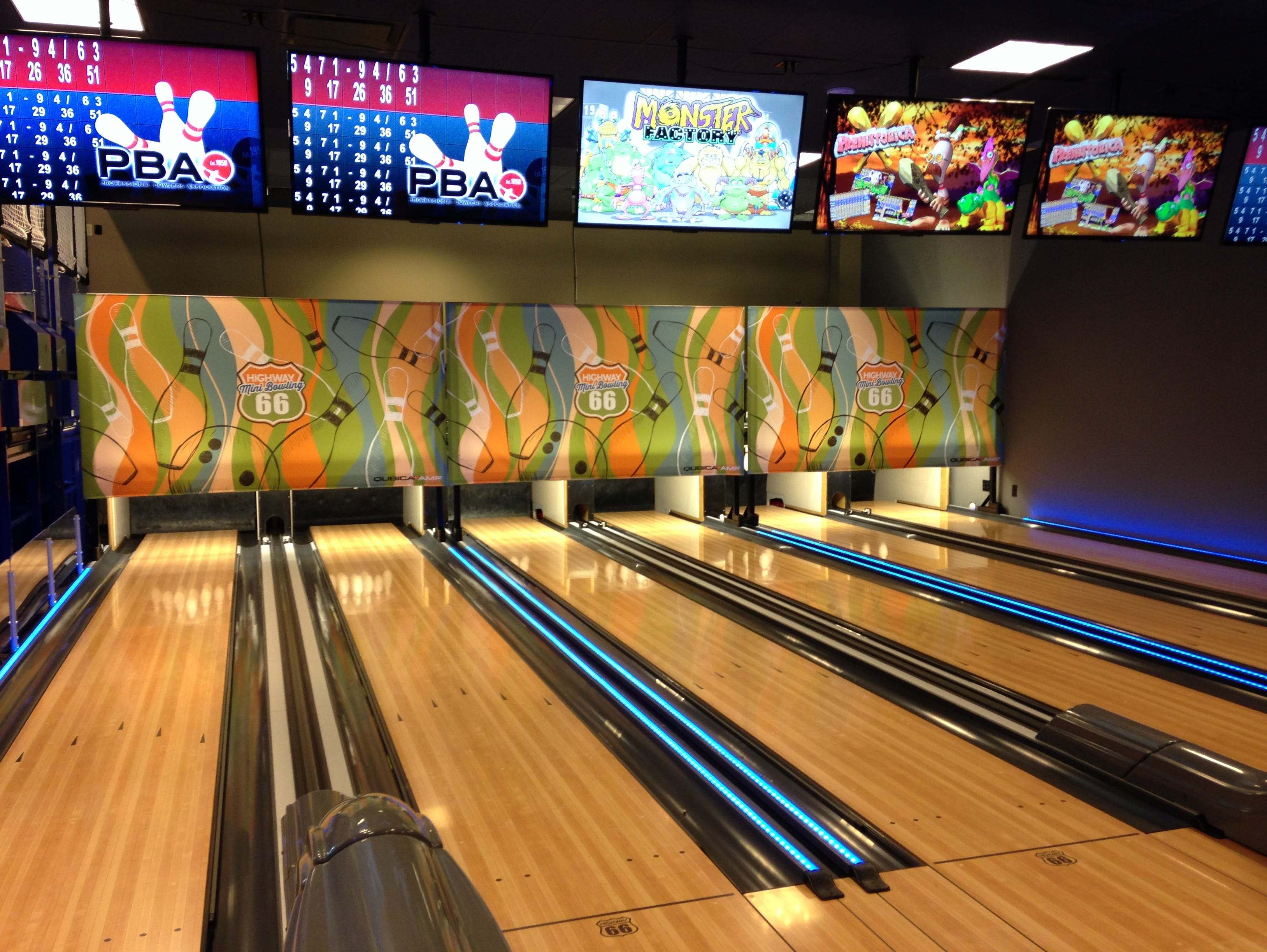 GameTime at Gulf Coast Town Center offers six lanes of mini-bowling. The family amusement center opened Christmas Day.