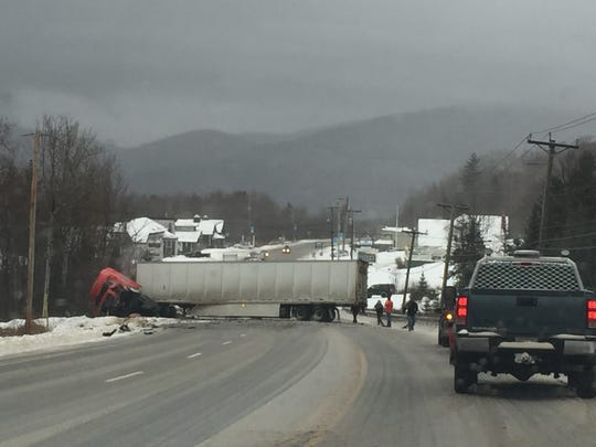 A tractor trailer is seen Tuesday afternoon on U.S.