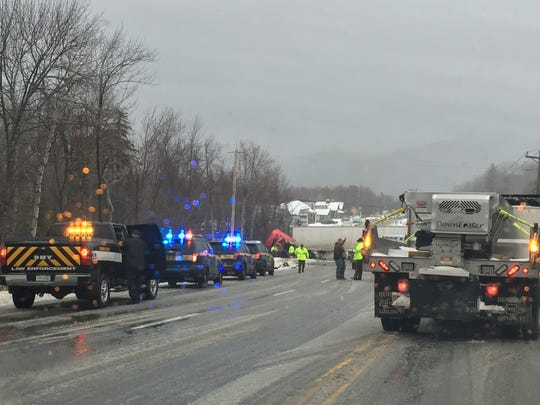 Emergency crews respond after a tractor trailer and