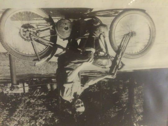 Woody Wood on his Harley
