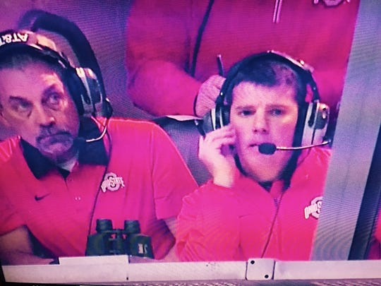 Rutgers coach Chris Ash (right) and special teams coordinator Vince Okruch got some TV face time during the Fiesta Bowl.