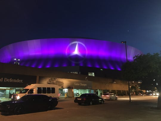 The outside of the Mercedes-Benz Superdome during the 2015 Essence Festival in New Orleans