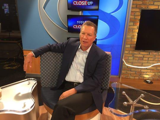 John Kasich on the set of KCCI News Close Up on Monday.