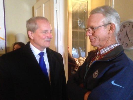 State Sen. Bill Ketron, left, discusses concerns about