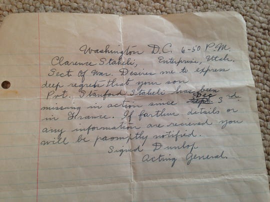 The first notice, hand-written and delivered to the