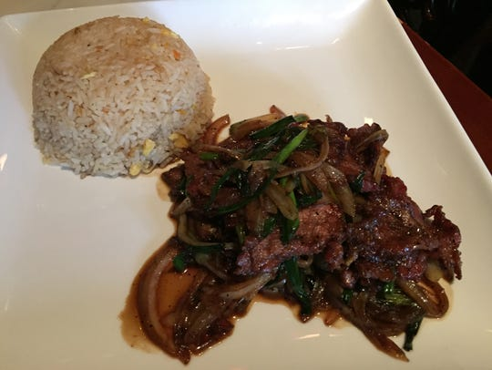 Mongolian beef and fried rice.