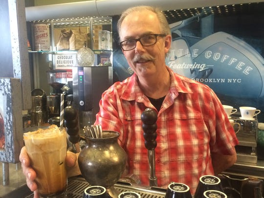 """Larry Hanes, owner of Eggshell Bistro at 51 City Center Drive in Carmel, said the addition of the """"Caffeine Trail"""" will add to Carmel's Arts District."""