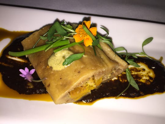A kabocha squash and pepita tamale served at Wednesday's Dinner and a Movie inside Mr. Lyons Steakhouse.