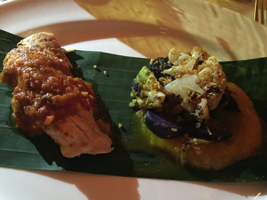 The banana leaf steam snapper served at Wednesday's Dinner and a Movie inside Mr. Lyons Steakhouse.