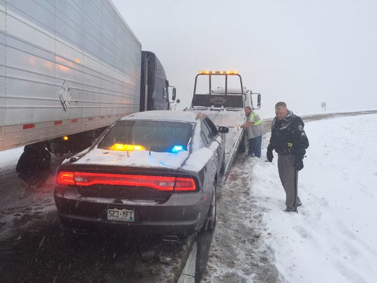The CPS car on the tow truck Friday morning.