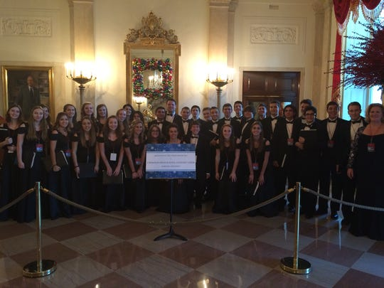 The Cherokee High School Concert Choir is shown at a performance at the White House on Dec. 19. Choir director Nicole Snodgrass (far right) led the group.