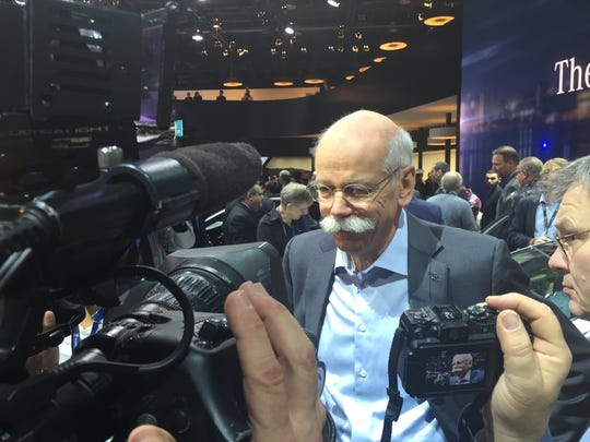 Dieter Zetsche, chairman of Diamler, talk about the new line up of cars for 2017, on Monday, Jan. 11, 2016, at the Detroit auto show.