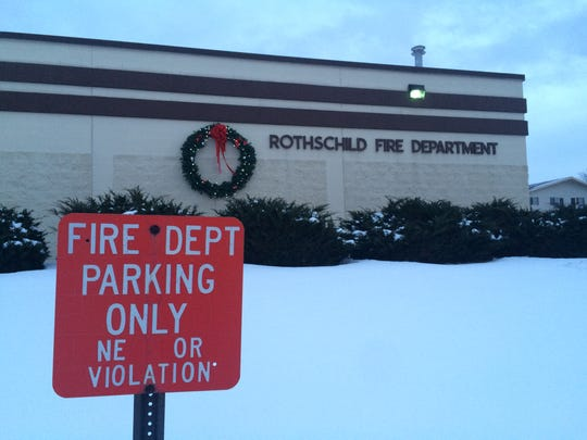 The Rothschild Fire Department at dusk on Monday, January 11, 2016.