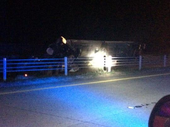 An 18-wheeler has overturned on I-20