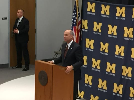 Secretary of Department of Homeland Security Jeh Johnson speaks at the University of Michigan-Dearborn on Jan. 13, 2016.