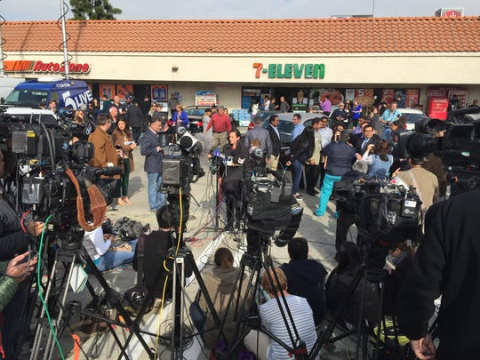Members of the media gather before the presentation of the $1 million bonus check to Chino Hills 7-Eleven owner Balbir Atwal on Thursday, Jan. 14, 2016.