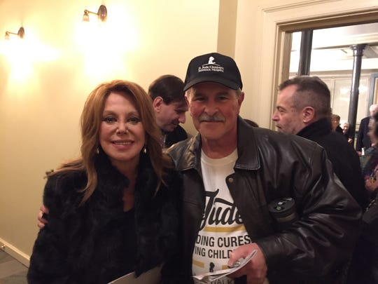"Marlo Thomas, left, with Rick Binaco after a recent performance of her Broadway show ""Clever Little Lies."""
