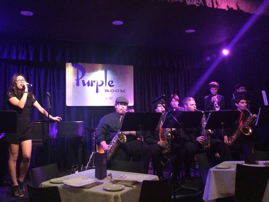 The La Quinta High School Jazz Band performs during Foodie Tuesday at The Purple Room in Palm Springs.