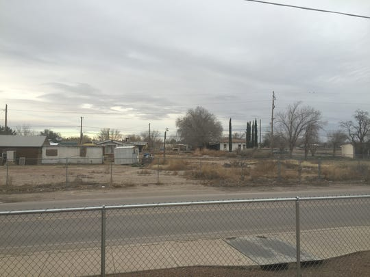 San Elizario Independent School District officials may use eminent domain to take some of this privately owned land across the street from Alarcón Elementary School to build a school parking lot.