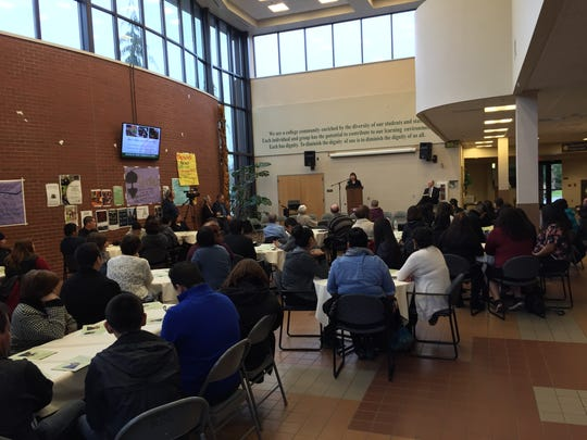 Elizabeth Bahe, director of Native American programs at Willamette University, speaks to the crowd at the 22nd annual Thompson-Patch Scholarship Awards ceremony at Chemeketa Community College on Sunday, Jan. 17.