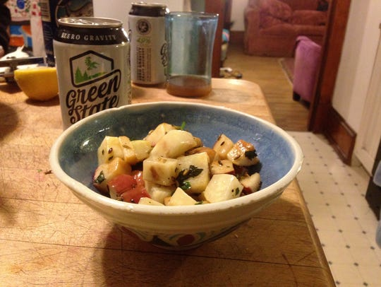 Celeriac and apple salad made from a recipe from Stone