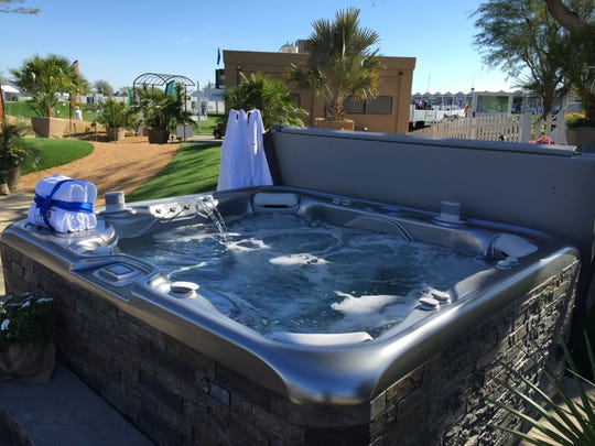 A spa, with water feature and pop-up Bluetooth speakers, is featured in the Teserra Outdoors Experience display during the CareerBuilder Challenge at TPC Stadium Course at PGA West on Jan. 20, 2016.