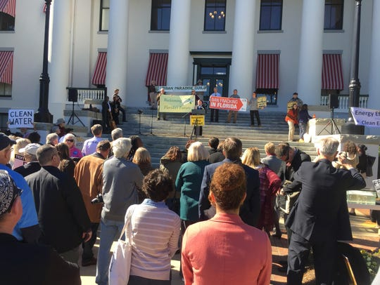 People against fracking joined in a rally Wednesday