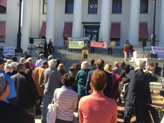 People against fracking joined in a rally Wednesday at the Historic Capitol.