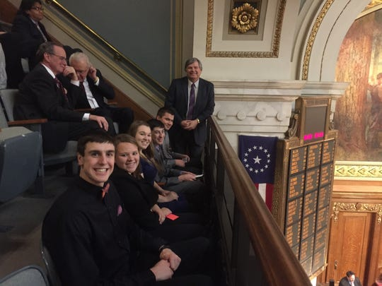 Kewaunee High School students had a front-row balcony seat at the State of the State address Tuesday.  From left,  Zach Baumgartner, Rachel Dax, Abby Joski, J.J. Vollenweider and Tyler Reckelberg.  Principal Mike Holtz is standing.
