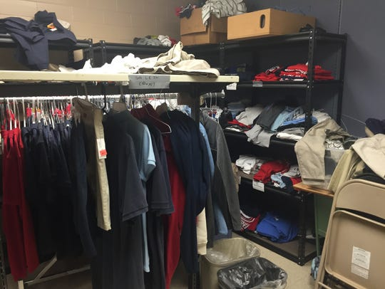 A clothes closet inside Greenacres Middle School provides