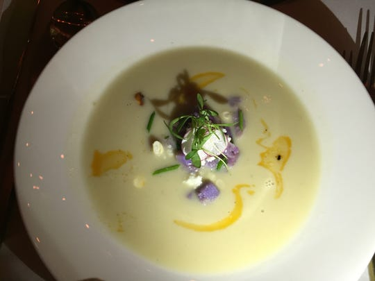 The Peruvian potato and corn soup from a Palm Springs International Film Festival dinner pairing at Mr. Lyons Steakhouse.