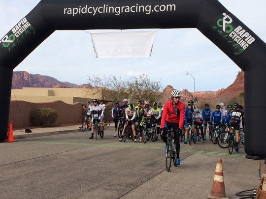 The men's Cat 3 and 4 cyclists line up for the start of their first race in the Desert City Crit Series hosted by Rapid Cycling Races Saturday, Jan. 9, 2016.