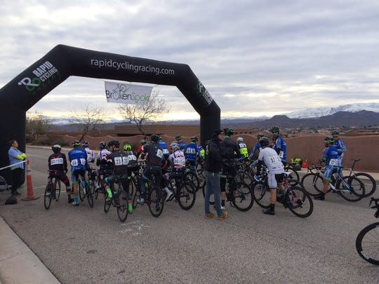 The men's professional Cat 1, 2 and 3 cyclists line up for the start of their first race in the Desert City Crit Series hosted by Rapid Cycling Races Saturday, Jan. 9, 2016.