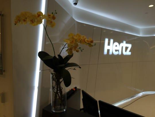 The lobby of the Hertz global headquarters in Estero.