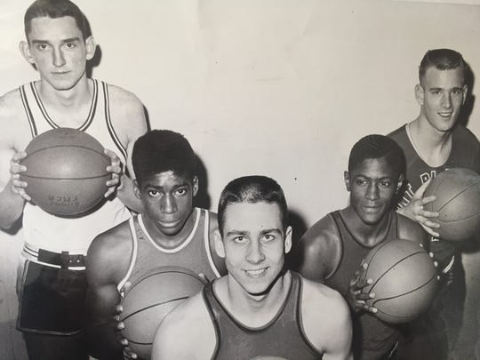 Long Branch's Tom Kerwin (far left) is shown as a member of the 1961 All-Shore team, along with (left to right) Bruce Jackson of Keyport, Al Kern of Neptune, Hen ry Moore of Neptune and Roger Williams of Point Beach.