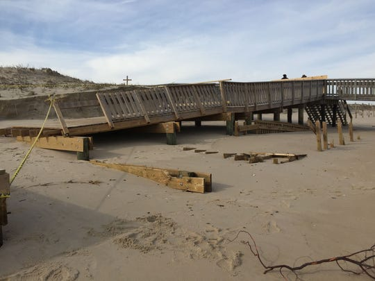 The walkway to the Cape Henlopen State Park bathhouse was badly damaged during the weekend storm.