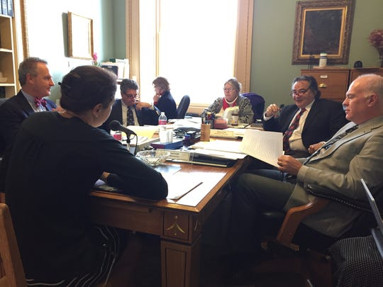 The Vermont Senate Government Operations Committee revisits a plan to tweak the state's open meeting law at the Statehouse in Montpelier on Tuesday. The Vermont League of Cities and Towns, which represents local governments, has called for more extensive changes to open meeting and public records laws.