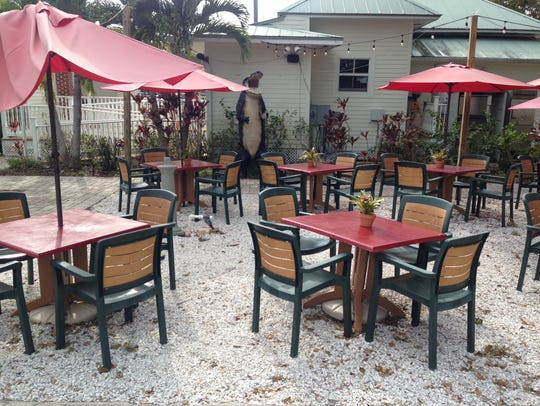 The empty back patio at BRB Gastropub in Fort Myers.