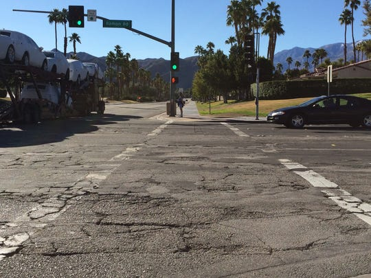 Ramon Road is filled with cracks and bumps in Palm Springs. The stretch between El Cielo Road and Sunrise Way is scheduled to be repaved beginning at the end of February.