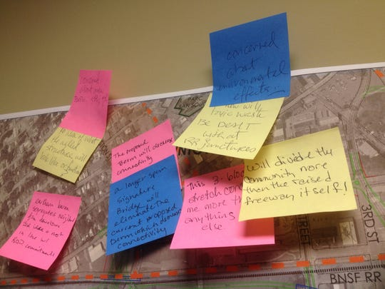 Post-It notes with more than 560 concerns and suggestions about I-49 in Lafayette were turned into officials Jan. 23.
