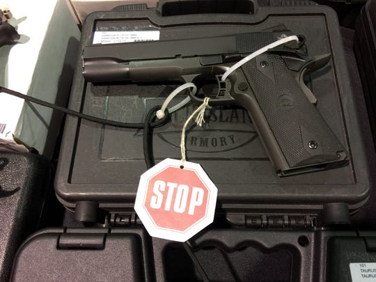 A gun being sold at the gun show in Fishersville on
